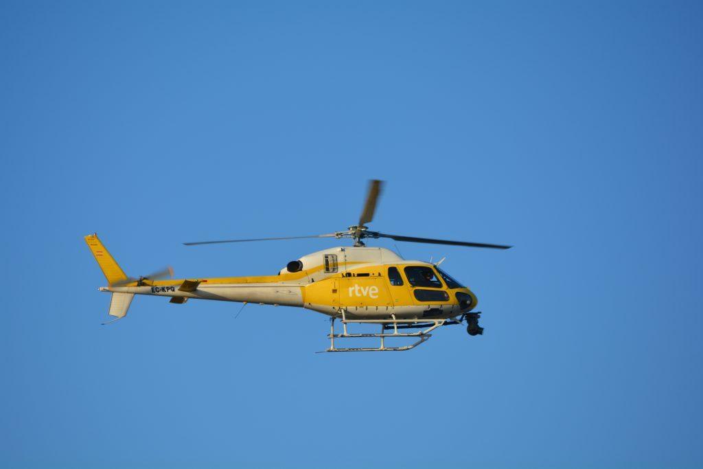 Detalle de uno de los helicópteros usados por TVE para los planos aéreos